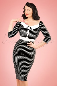 50s Sally Secretary Striped Pencil Dress in Black and White