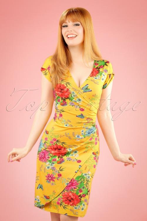 Lien & Giel 60s Buenos Yellow Floral Dress 106 89 19933 20170208 0012W