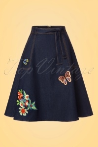 60s Naomi Embroidered Skirt in Denim