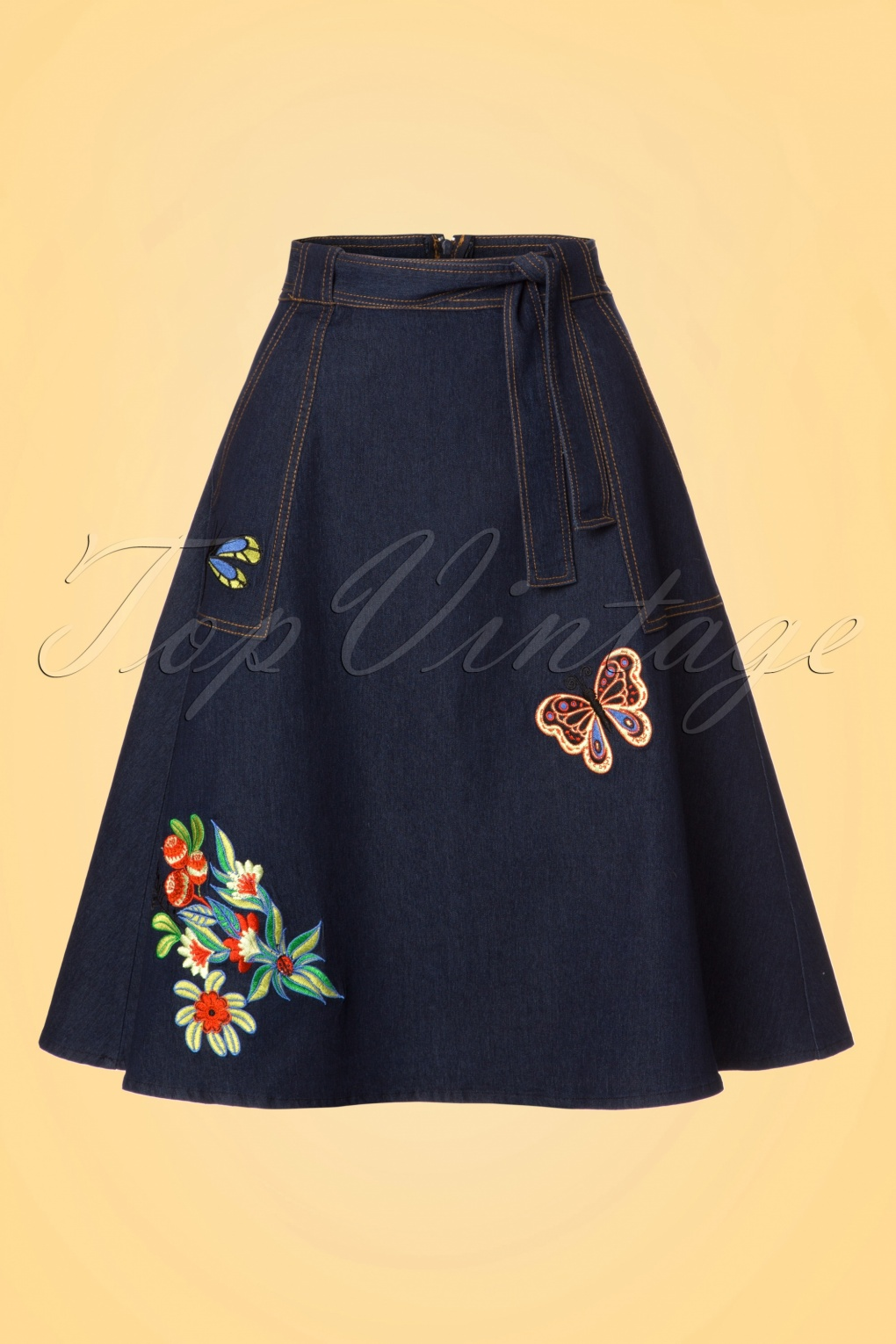 Retro Skirts: Vintage, Pencil, Circle, & Plus Sizes 60s Naomi Embroidered Skirt in Denim £46.67 AT vintagedancer.com