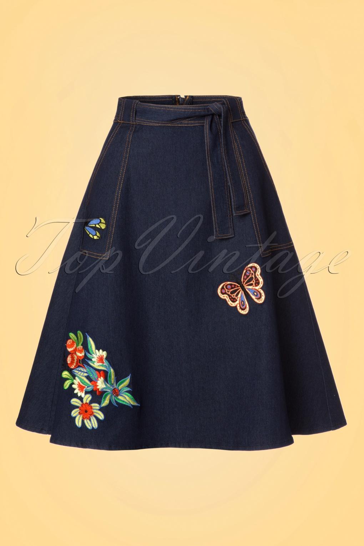 1960s Style Skirts 60s Naomi Embroidered Skirt in Denim £47.21 AT vintagedancer.com