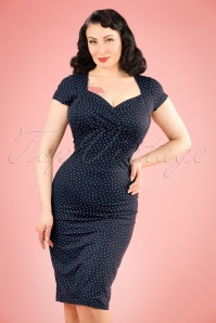 50s Little Dots Perry Pencil Dress in Nuit Blue
