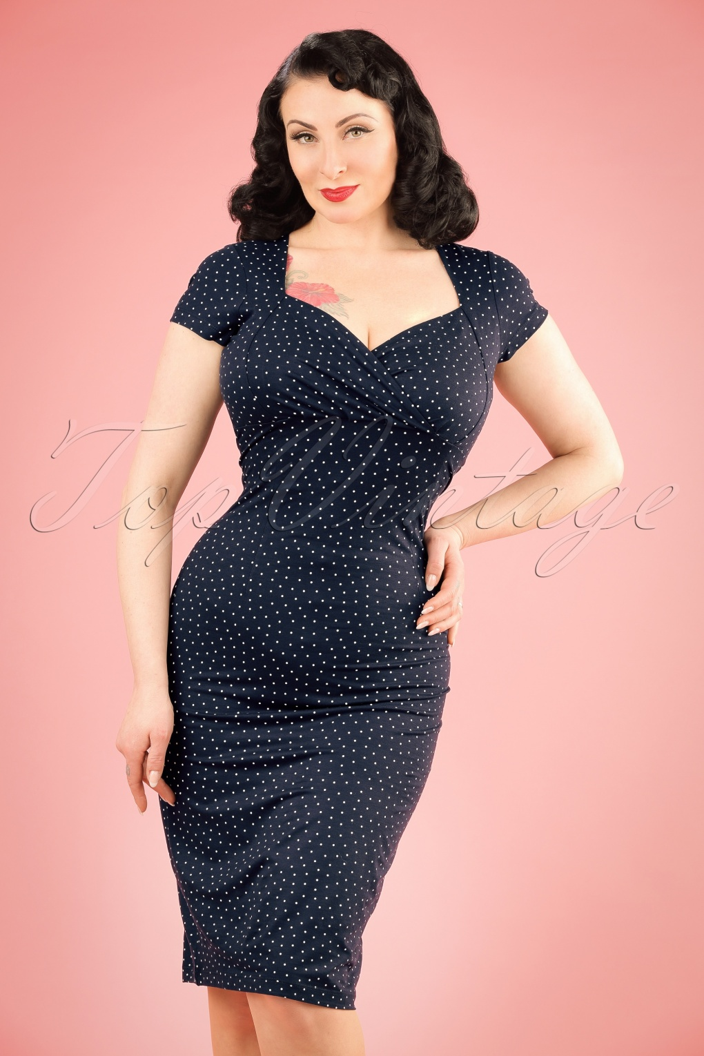 1950s Polka Dot Dresses 50s Little Dots Perry Pencil Dress in Nuit Blue £84.89 AT vintagedancer.com