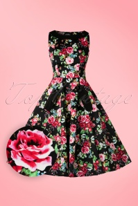 Hearts & Roses  Black Floral Swing Dress 102 14 17125 03182016 011W1