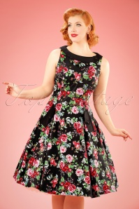 50s Wendy Floral Swing Dress in Black