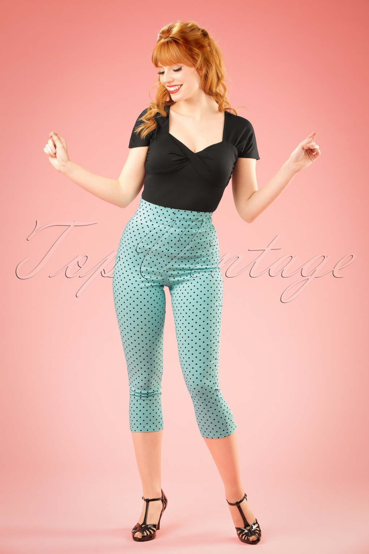 1950s Style Pants 50s Kay Polkadot Capri Pants in Aqua Blue £25.41 AT vintagedancer.com