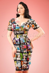 TopVintage Exclusive ~ 60s Rita Cartoon Dress in Black