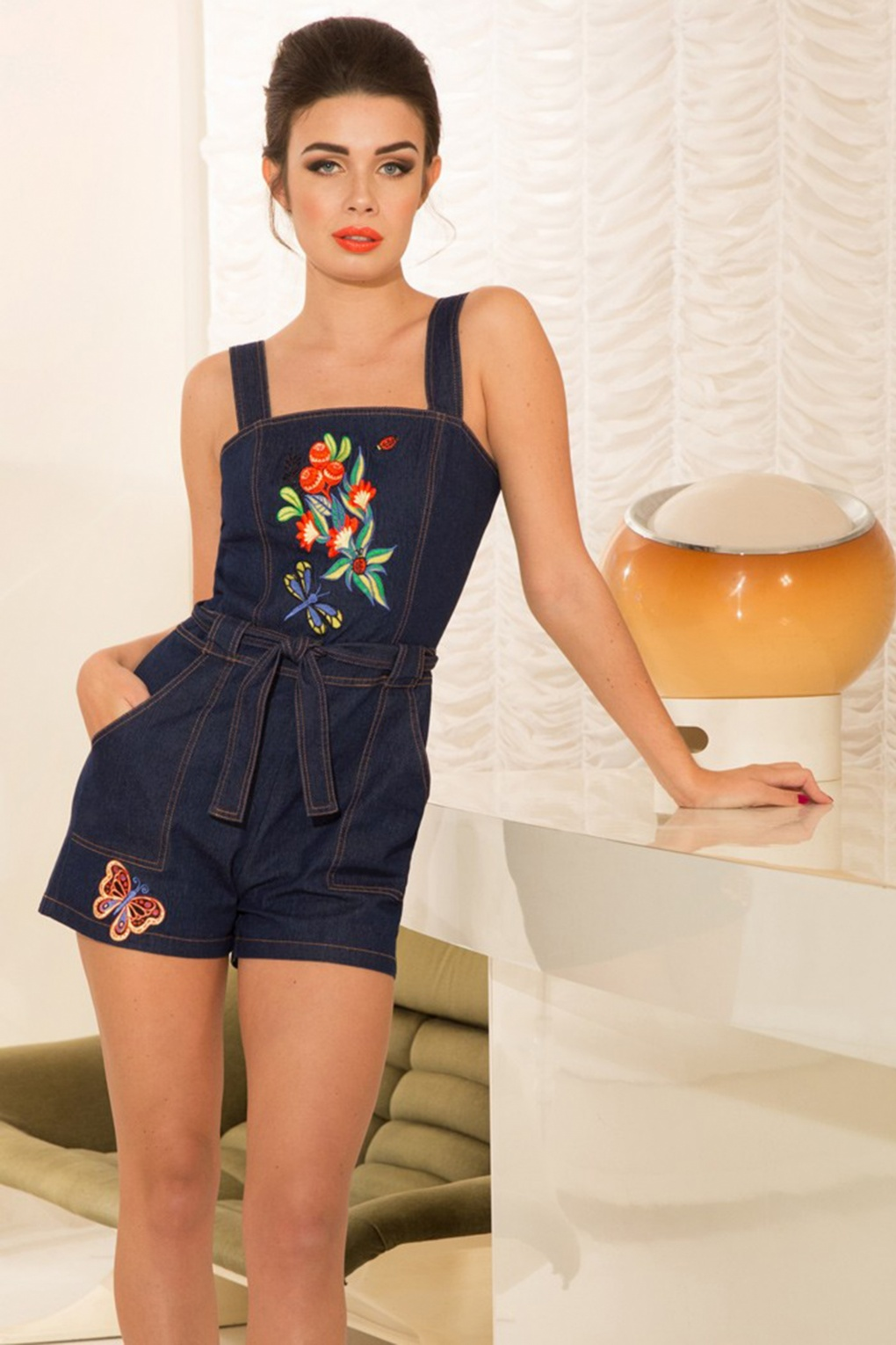 Vintage Rompers and Retro Playsuits 60s Callie Embroidered Playsuit in Denim £55.10 AT vintagedancer.com