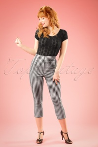 50s Judy Capri Pants in Black and White Gingham