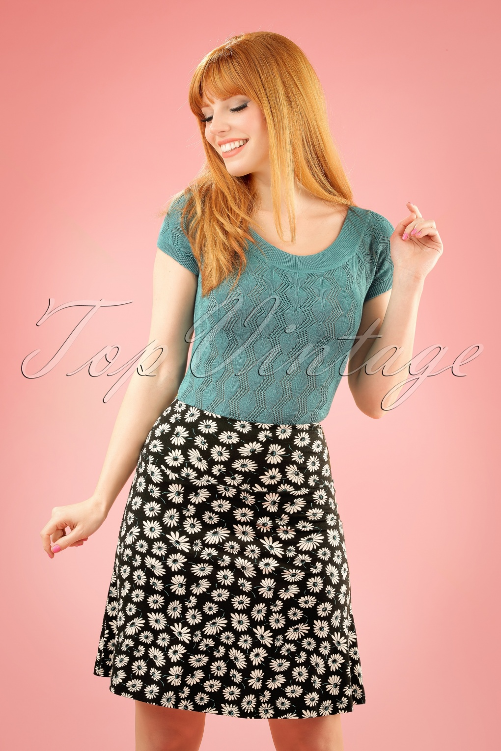 Retro Skirts: Vintage, Pencil, Circle, & Plus Sizes 60s Summer Meadow Borderskirt in Black £50.91 AT vintagedancer.com
