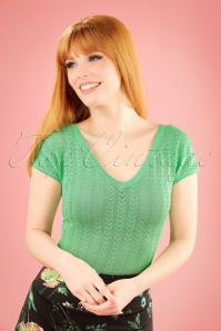 60s Fara Deep V Top in Lagoon Green