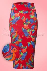 Lien & Giel Parrot Geranium Floral Red Skirt 120 27 19937 20170208 0007W1