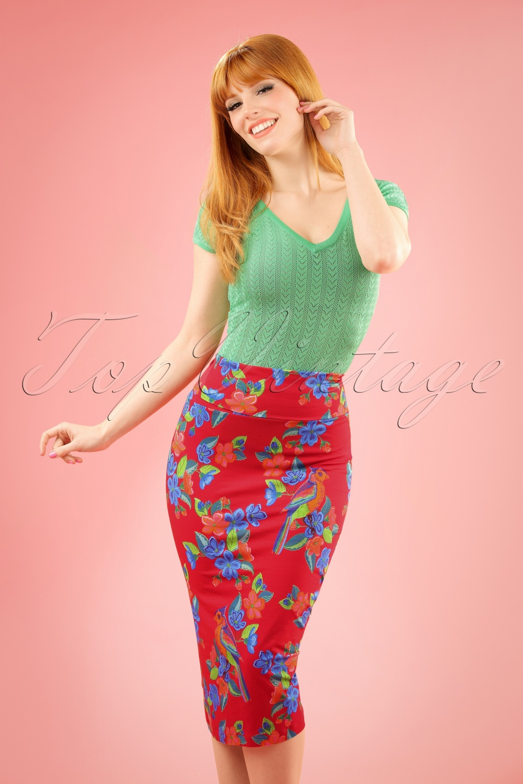 Retro Skirts: Vintage, Pencil, Circle, & Plus Sizes 60s Nice Geranium Parrot Skirt in Red £59.41 AT vintagedancer.com