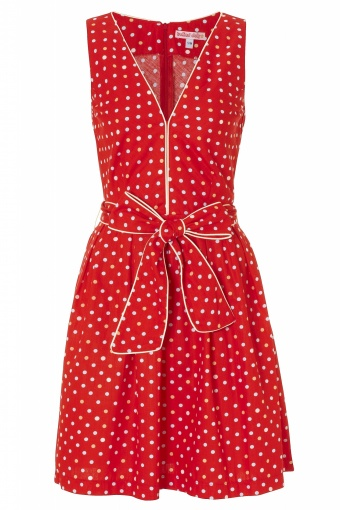 110 - CANDY GIRL DRESS - RED MULTI SPOTS