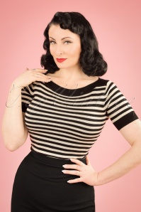 50s Audrey Ekko Stripes Top in Black Silk