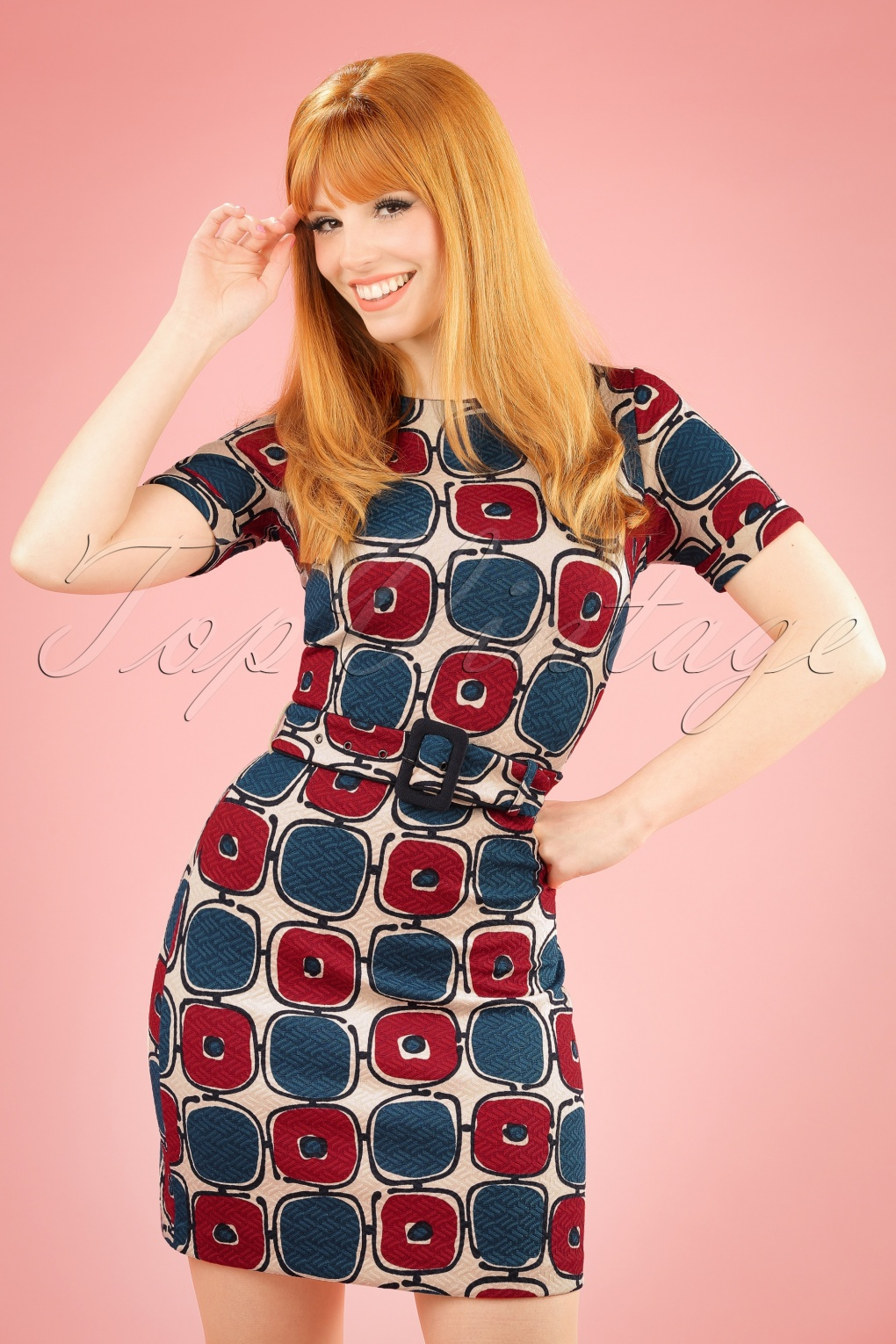 1960s Style Dresses- Retro Inspired Fashion 60s Maes Solide Dress in Cream Blue and Wine £84.79 AT vintagedancer.com