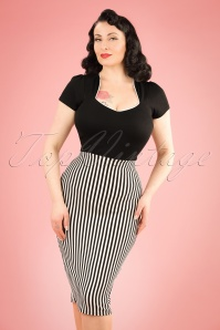50s Robin Stripes Pencil Skirt in Black and White