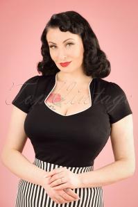 50s Sophia Top in Black and White