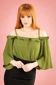 Traffic People Green Off Shoulder Top 113 40 19870 20170210 01W