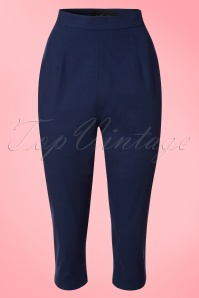 Collectif Clothing Gracie Plain Capris in Navy 20650 20161201 0004w