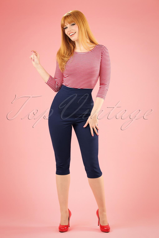1950s Style Pants 50s Gracie Capris in Navy £33.89 AT vintagedancer.com