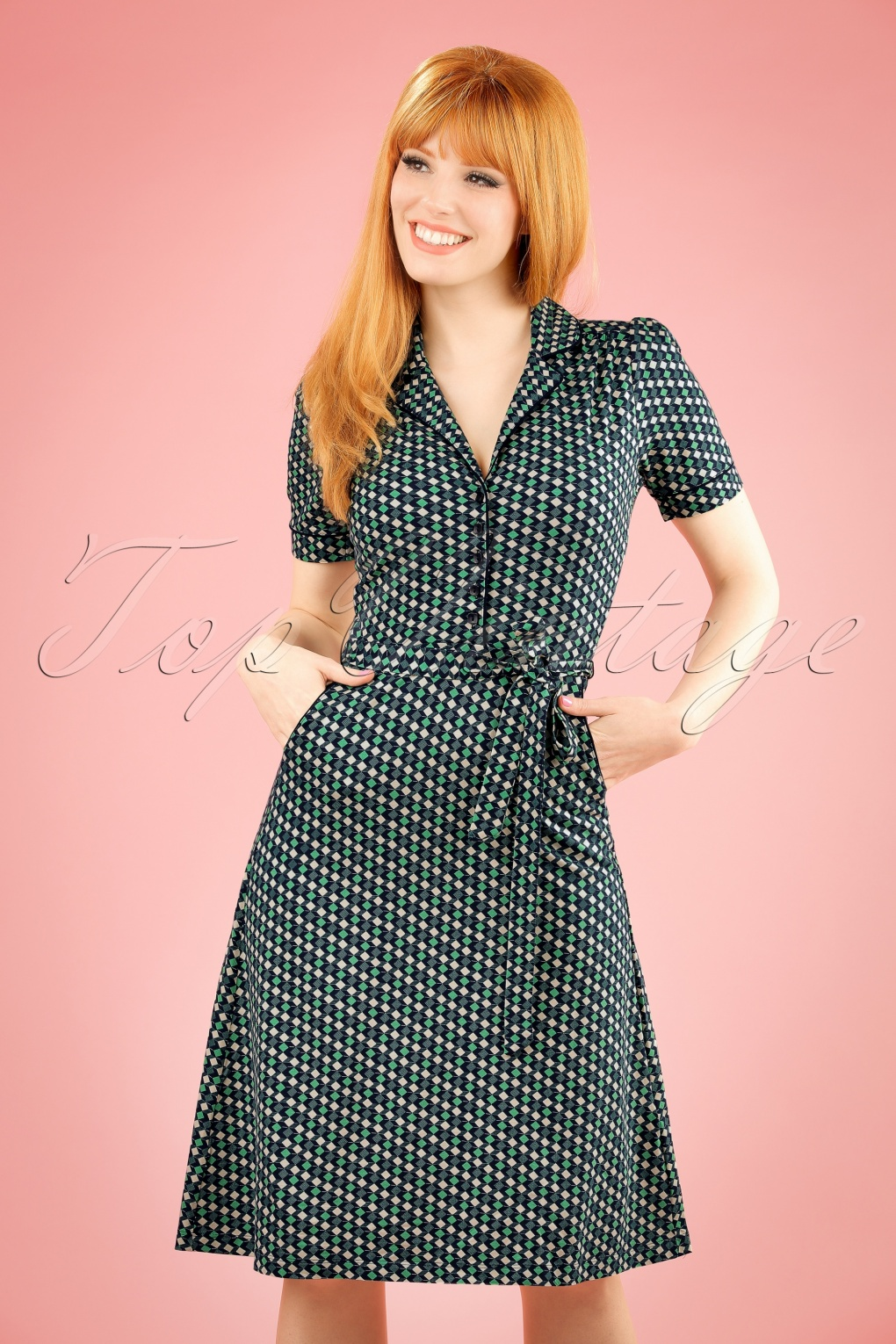 1960s Style Dresses- Retro Inspired Fashion 60s Bibi Cubici Dress in Navy and Green £69.98 AT vintagedancer.com