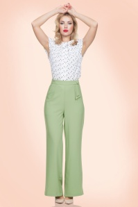 40s Sadie Trousers in Pastel Green