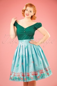 Dancing Days by Banned Going My Way Flamingo Skirt in Blue 122 39 20923 20170124 0010w