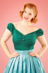 Collectif Clothing 50s Dolores Top Carmen in Sea Green