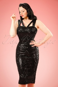 50s Judy Sequins Pencil Dress in Black
