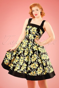 50s Leandra Lemon Swing Dress in Black