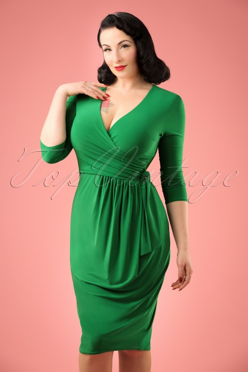 Vintage Chic Side Tie Wrap Dress 100 20 21183 20170223 00010w