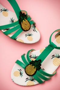 60s Lottie Pineapple Sandals in Green