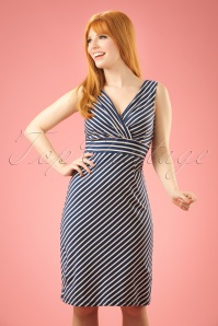 60s Breton Double Cross Over Dress in Nuit Stripes