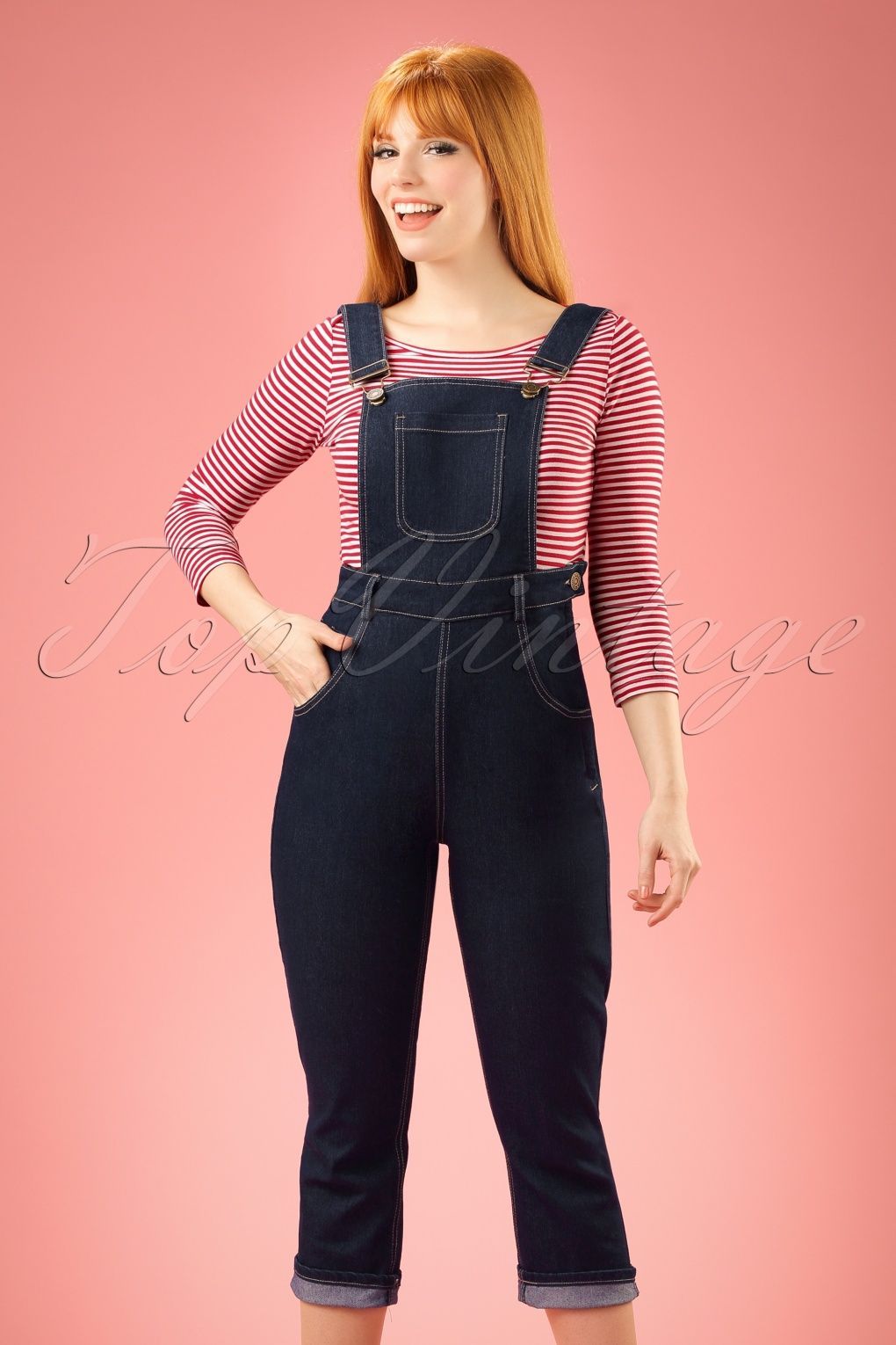 Vintage Overalls 1910s -1950s Pictures and History 50s Coco Denim Dungarees in Navy £26.81 AT vintagedancer.com