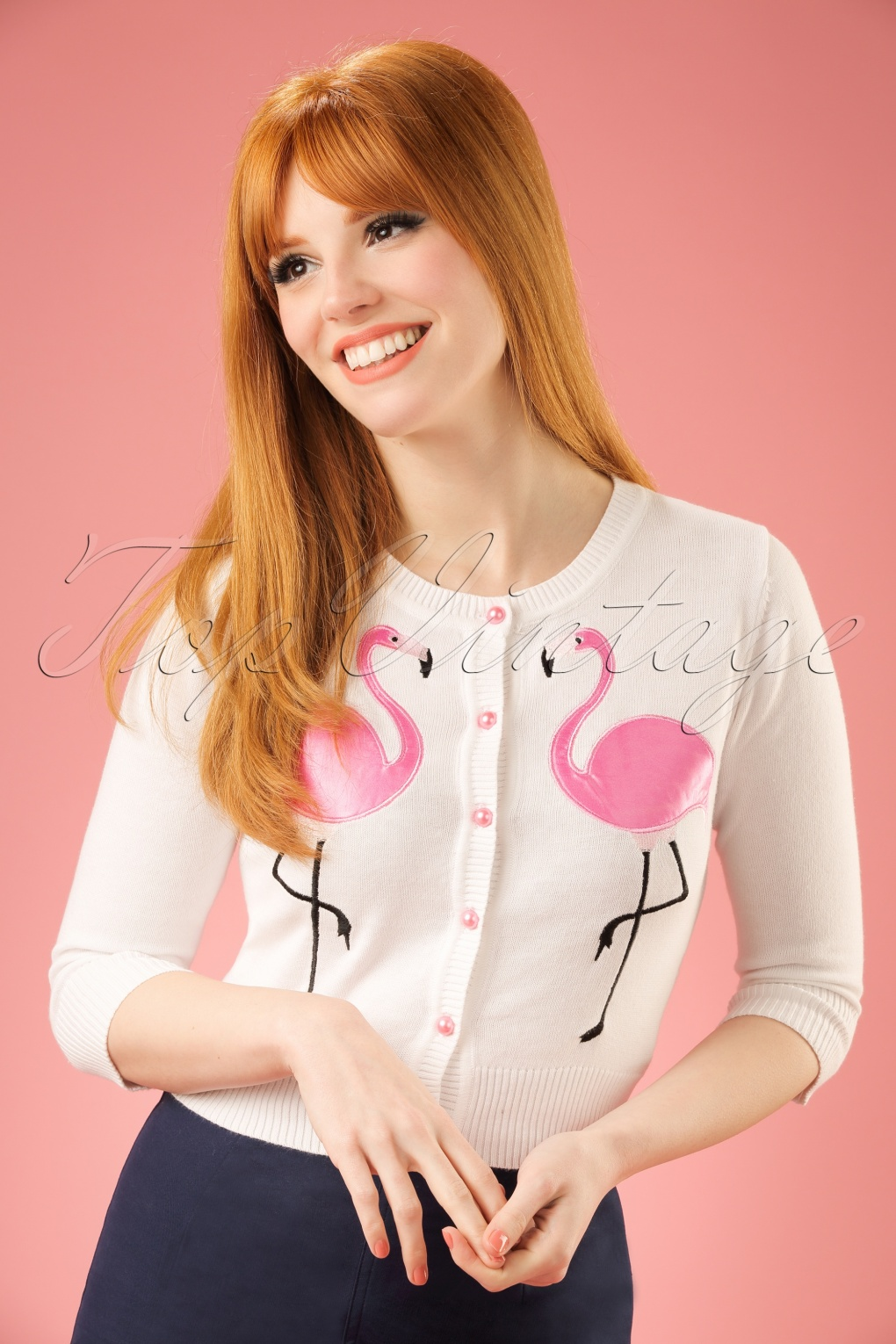 1950s Style Sweaters, Crop Cardigans, Twin Sets 50s Lucy Flamingo Cardigan in White £24.61 AT vintagedancer.com