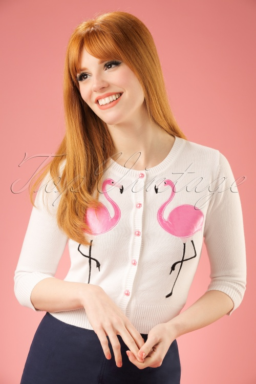 Collectif Cloting Lucy Flamingo Cardigan in White 17640 20151117 0008w