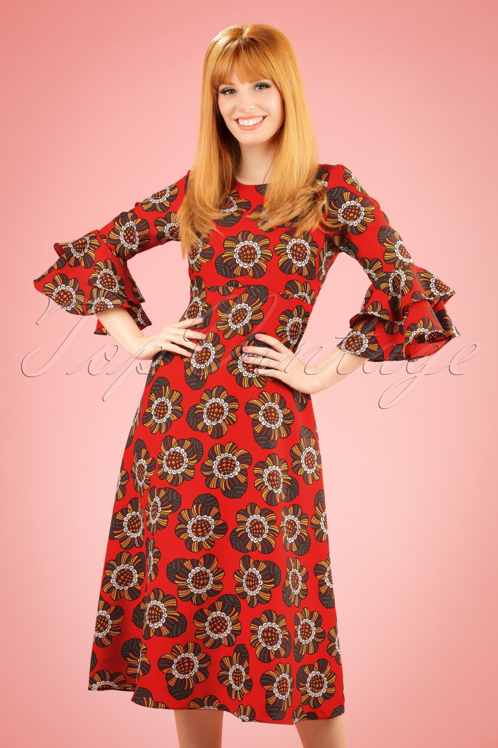 1960s Style Dresses- Retro Inspired Fashion 70s Luck Be A Lady Flower Midi Dress in Tangerine £76.30 AT vintagedancer.com