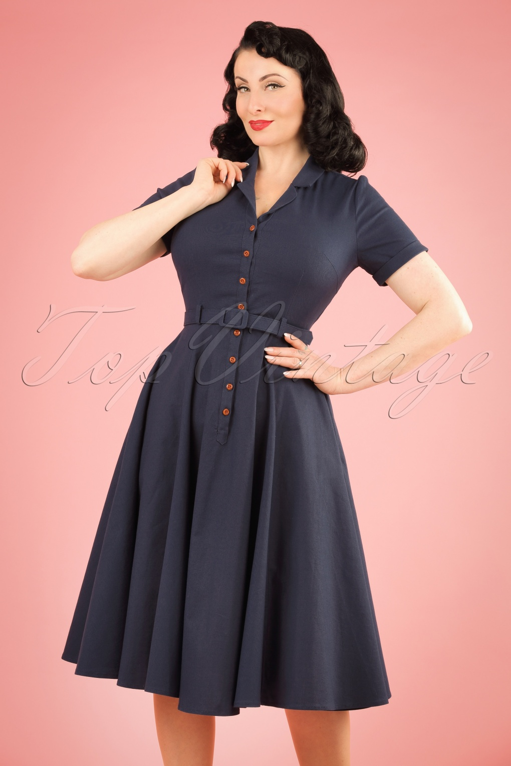 Pin Up Dresses | Pin Up Clothing 50s Caterina Swing Dress in Navy £74.49 AT vintagedancer.com