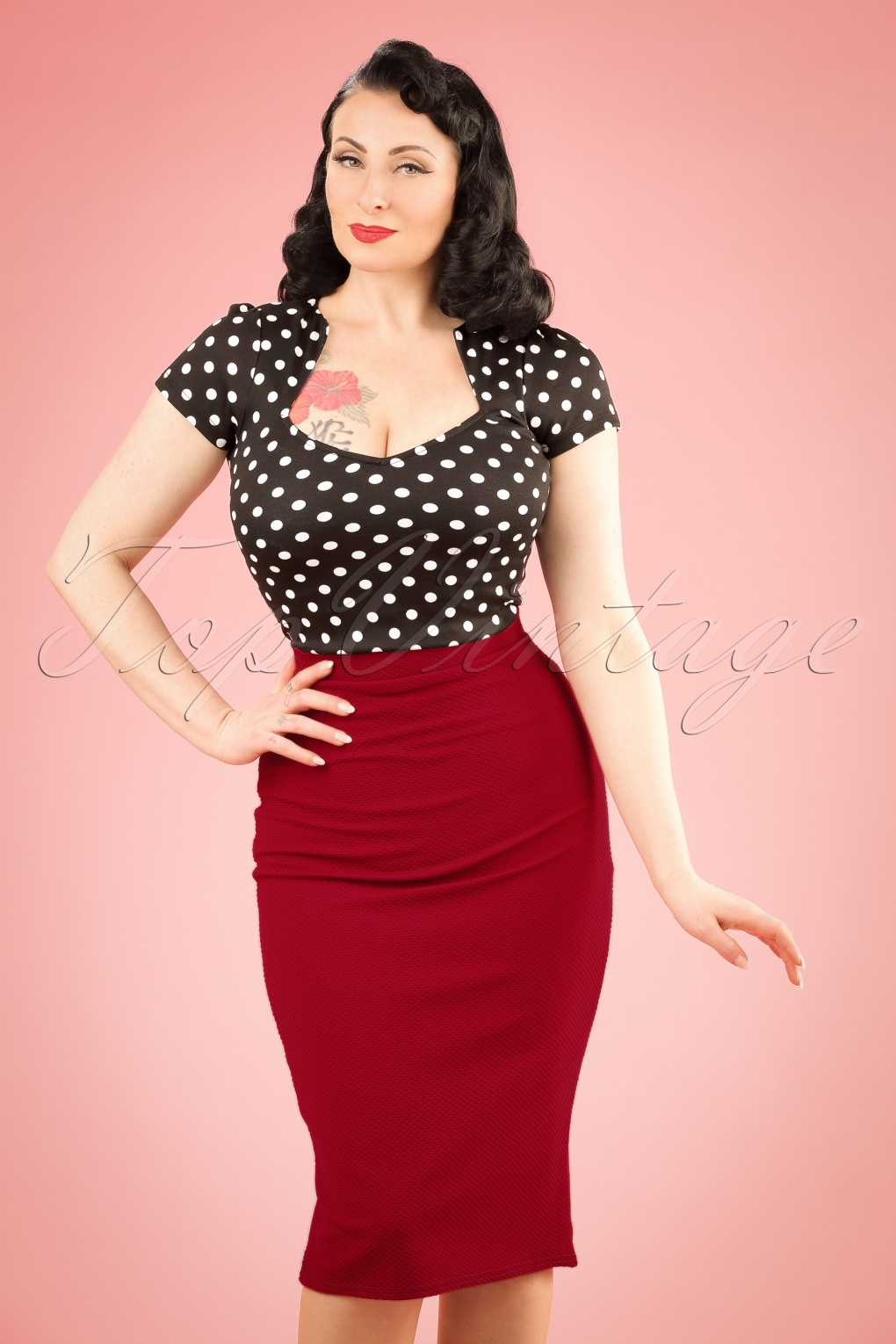 1950s Skirts; Pinup, Poodle, Pencil, Swing & Circle Skirts 50s Joyce Pencil Skirt in Wine Red £27.58 AT vintagedancer.com