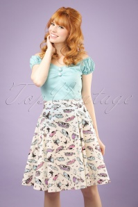 50s Tammy Car Swing Skirt in Ivory
