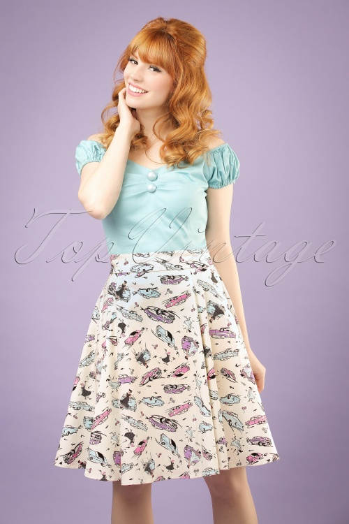 Collectif Clothing Tammy 50s Car Skirt in Ivory 20661 20121224 0001W