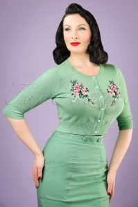 50s Lucy Romantic Floral Cardigan in Antique Green