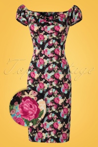 Collectif Clothing Dolores Origami Floral Pencil Dress 20822 20161129 0002aW