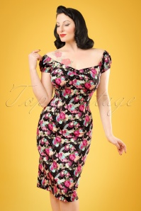 50s Dolores Peony Floral Dress in Black