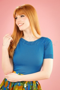 50s Audrey Cottonclub Top in Blue Moon