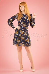 Traffic People Navy Floral 60s Dress 106 39 19872 20170210 0014W
