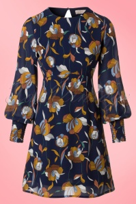 70s Follow You To The End Floral Dress in Blue