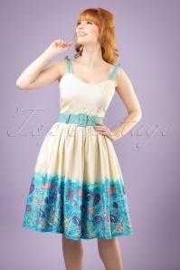 Jade Seashell Border Swing Dress Années 50 en Crème