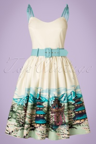 Collectif Clothing Jade Pagoda Border Print Swing Skirt 20833 20161128 0017W